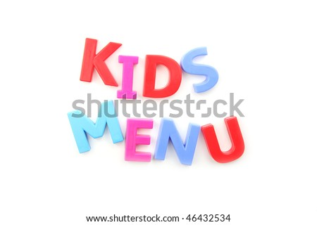 The words 'kids menu' spelled out using colored fridge magnets, isolated on white