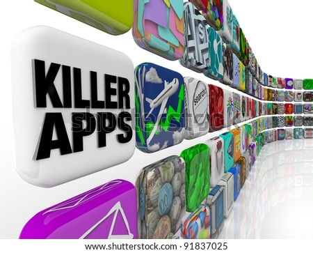 The words Killer Apps on an app tile in a wall of applications and software you can download into your smart phone, tablet computer or other mobile device