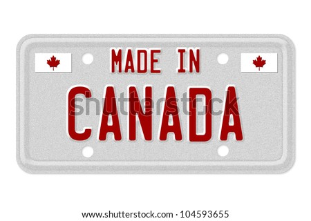The words Made in Canada in red on license plate isolated on white, Made in Canada License Plate