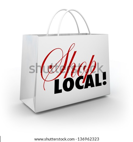 the words shop local on a white ...