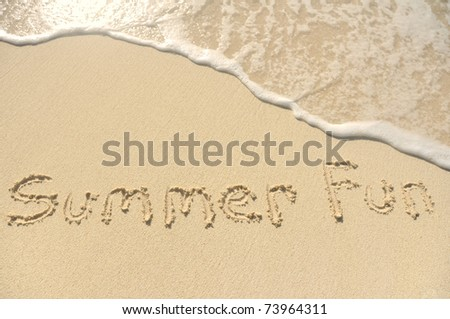 The Words Summer Fun Written in the Sand on a Beach