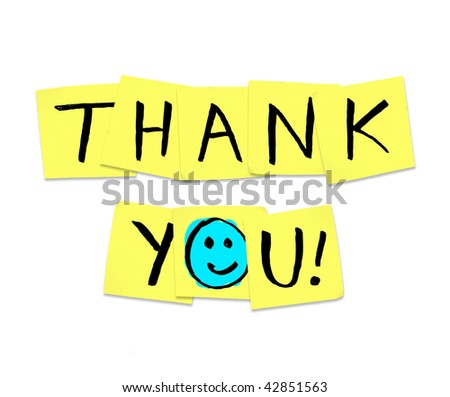 The words Thank You written on yellow sticky notes