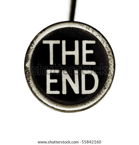 "The words ""THE END"" spelled out on an old typewriter key.  Lots of dust and scratches."