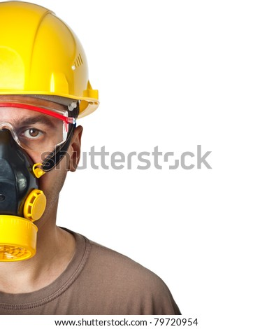 The worker in protective means. The isolated white background