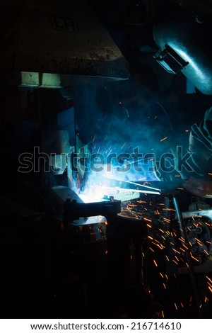 The working in Welding skill up. (Manufacturing of car) #216714610