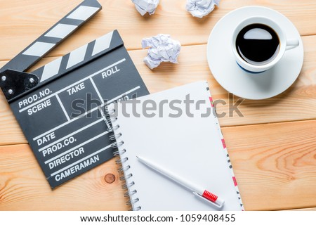 the working process of writing a script for the film - the working objects of the writer on the table