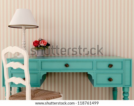 The workplace of the classic blue desk and white chair