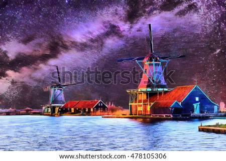 The works in the style of watercolor painting.Starry sky over Dutch windmills from the canal in Rotterdam. Watercolor style. Digital painting