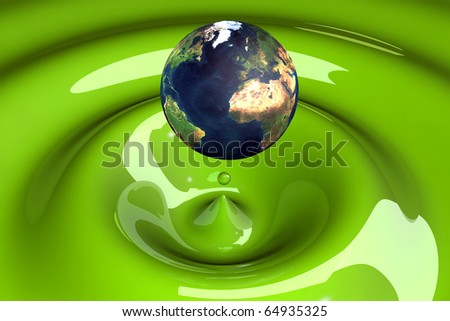 the world as a drop on liquid green wavy