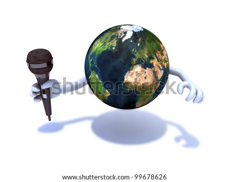 the world cheers with a microphone, Elements of this image furnished by NASA #99678626
