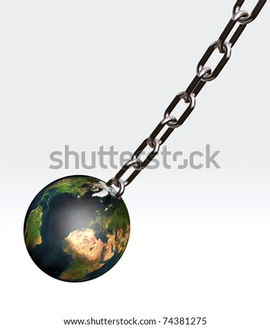 the world connected with a chain, 3d illustration