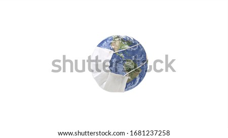 The World/Earth wears a mask to prevent the spread of the virus. World/ Earth put mask to fight against Corona virus. 3D Render Earth globe put mask Isolated on white background with Clipping Path.