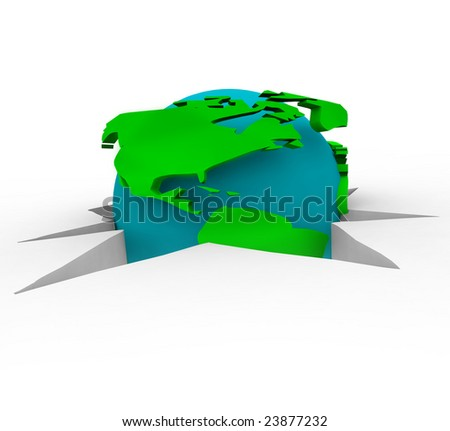 The world falling through a crack, symbolizing all the trouble the Earth faces - stock photo