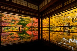 The world famous glass table at Rurikoin in Kyoto Japan during peak season in Autumn.