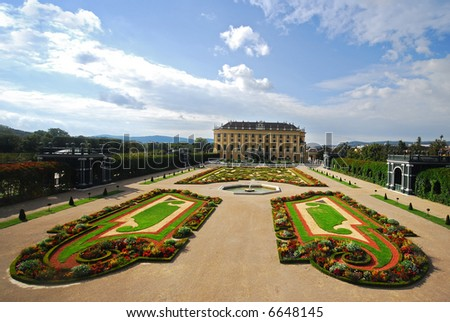 The world famous Schonbrunn Palace Gardens, at Vienna, Austria