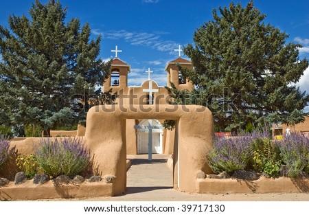 The world famous St. Francis de Asis church in Ranchos de Taos, New Mexico