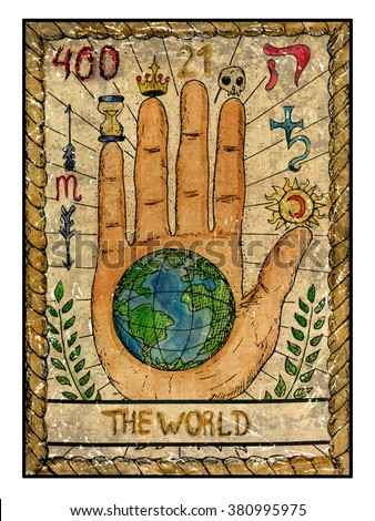 Stock Photo The world.  Full colorful deck, major arcana. The old tarot card, vintage hand drawn engraved illustration with mystic symbols. Concept image with human hand or palm with earth planet in the middle