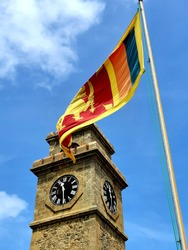 The world heritage dutch fort clock tower with the proud sri lankan flag. if you came to sri lanka and go to the galle town then you can see thia amazing view