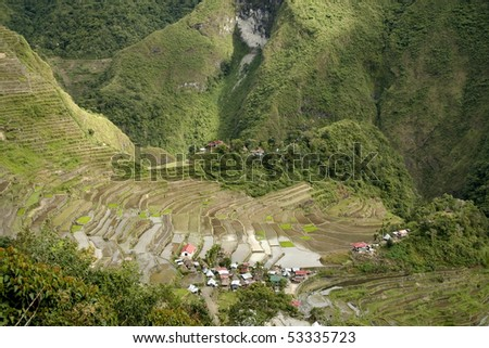 the world heritage ifugao rice terraces on the steep mountain slopes of batad in northern luzon in the philippines