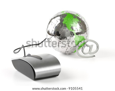 The world in a click - Global communications - over a white background