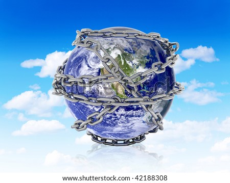 The world in chains over a blue sky