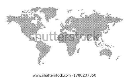 The world land is polka dots on white background with paths selection.Generalized world map is polka dots.Polka dots world map on isolated background.