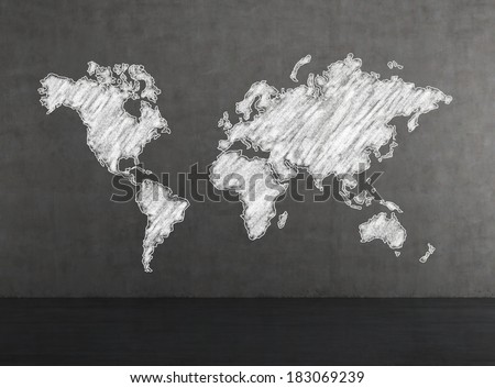 The world map, drawn by chalk