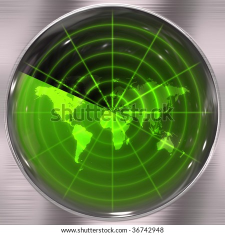 The world map in a radar screen - blips can be added easily anywhere they are needed.