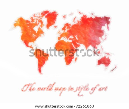 The world map in style of art. Orange tones. Isolated on a white background