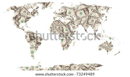 The world map made with dollar bills