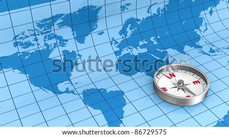the world map on background with a compass (3d render)