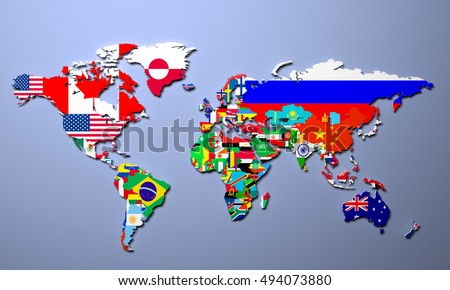 Royalty free map of world with flags in relevant 66590353 stock the world map with all states and their flags 3d illustration 494073880 gumiabroncs Image collections