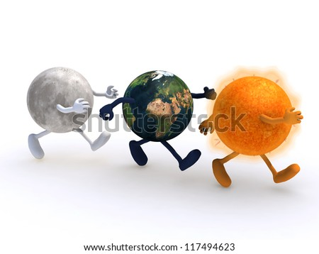 the world, the sun and the moon running, 3d illustration. Elements of this image furnished by NASA.