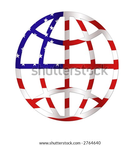The World with a US Flag Pattern - stock photo