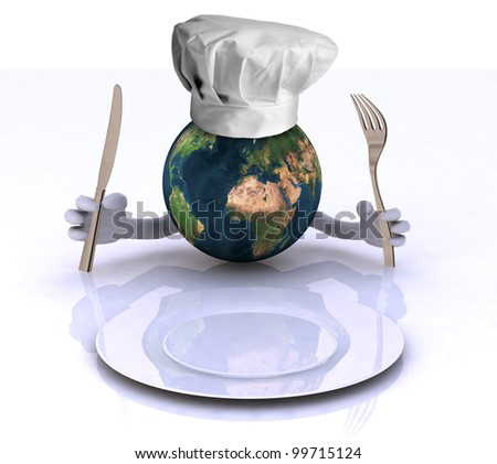 the world with hands and utensils in front of an empty plate, Elements of this image furnished by NASA - stock photo