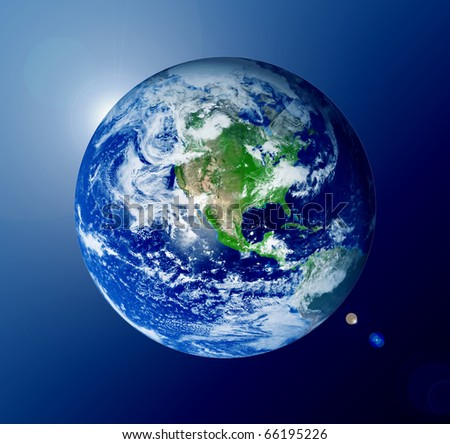 The world with lights over blue background