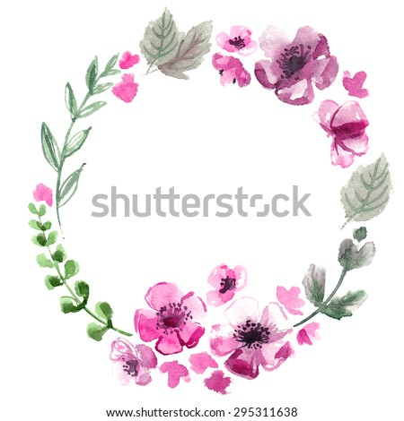 The wreath of flowers watercolor on a white background wedding the wreath of flowers watercolor on a white background wedding decorative wreath of colored flowers mightylinksfo