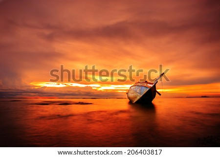 The wrecked ship sunset, Thailand