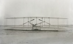 The Wright Brothers 'machine' the plane in which they made the first powered controlled flight in a heavier-than-air airplane on December 17 1903.