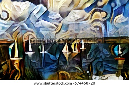 The yacht at regatta in the sea. Abstraction in modern cubist style. Executed in oil on canvas with elements of pastel and acrylic painting. Painting in the style of Edvard Munch