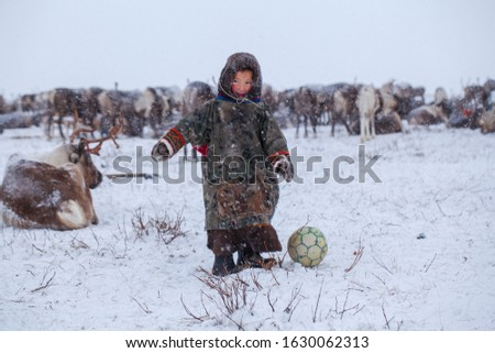 The Yamal Peninsula. Reindeer with a young reindeer herder. Happy boy on reindeer herder pasture playing with a ball in winter