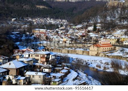 The Yantra river and Asenov district of Veliko Turnovo in Bulgaria in the winter