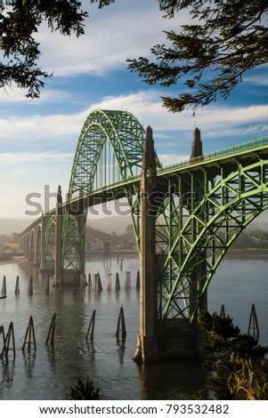 The Yaquina Bay Bridge at Newport on the Oregon coast.