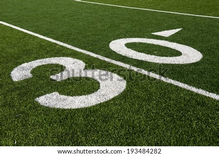 The 30 yard line on an American Football field.