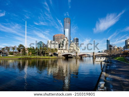 The Yarra River and southbank of Melbourne's CBD on a clear winter morning