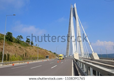 The Yavuz Sultan Selim Bridge  is a bridge for rail and motor vehicle transit over the Bosphorus strait, to the north of two existing suspension bridges in Istanbul, Turkey. #1108391765