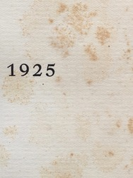 The year 1925 as printed on the title page of a journal published that year. The page shows foxing stains