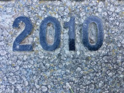 The year 2010 carved in granite with the figures polished – a detail of an inscription produced that year