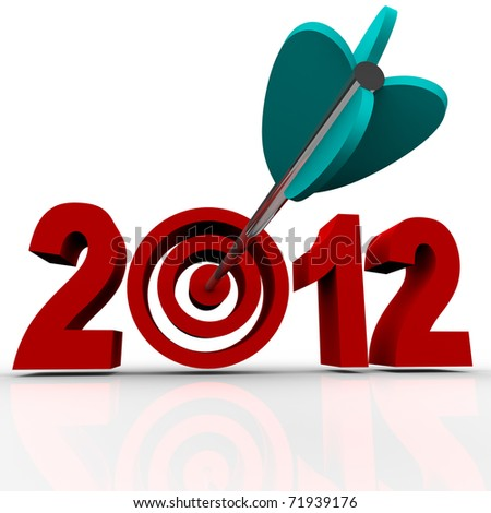 The year 2012 in red numbers on a white background with a bullseye target in place of the zero and an arrow hitting the middle of it