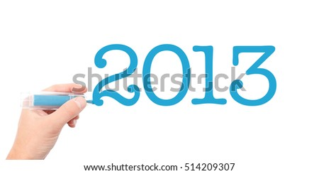 The year of 2013written with a marker #514209307